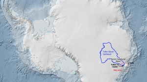 The Totten Glacier Catchment (outlined in blue) is a collection basin for ice and snow that flows into the ocean through Totten Glacier alone. The catchment is estimated to contain enough frozen water to raise global sea level by at least 11 feet (3.3 meters). Image credit: Australian Antarctic Division