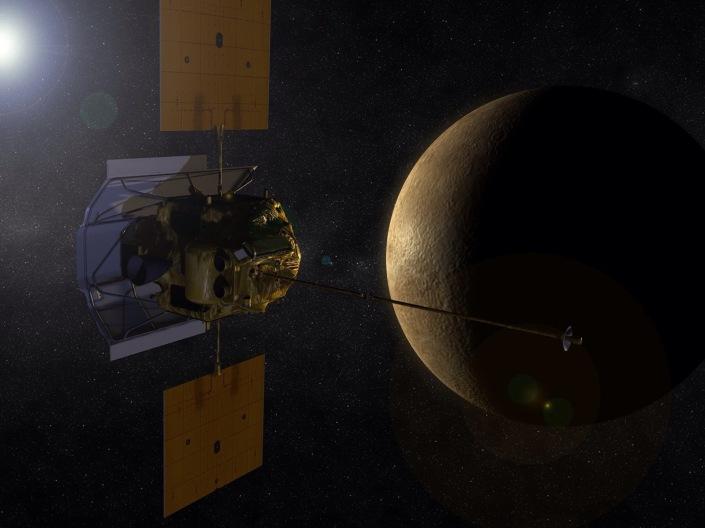 Artist concept of the MESSENGER spacecraft in orbit around planet Mercury. Image Credit: NASA