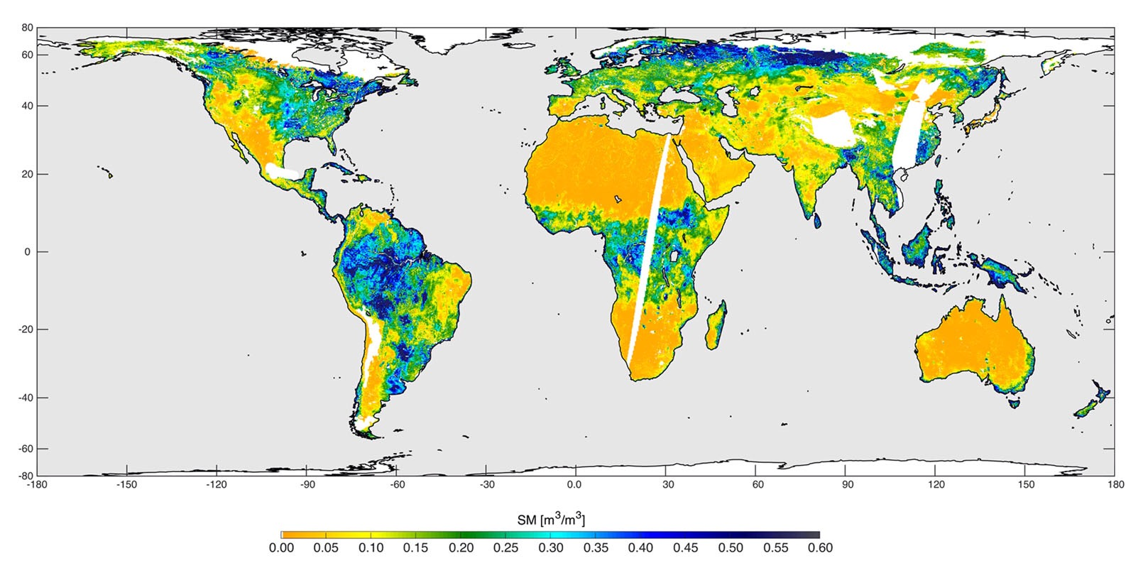 high resolution global soil moisture map from smap s combined radar and radiometer instruments southern u s smap soil moisture retrievals from april 27