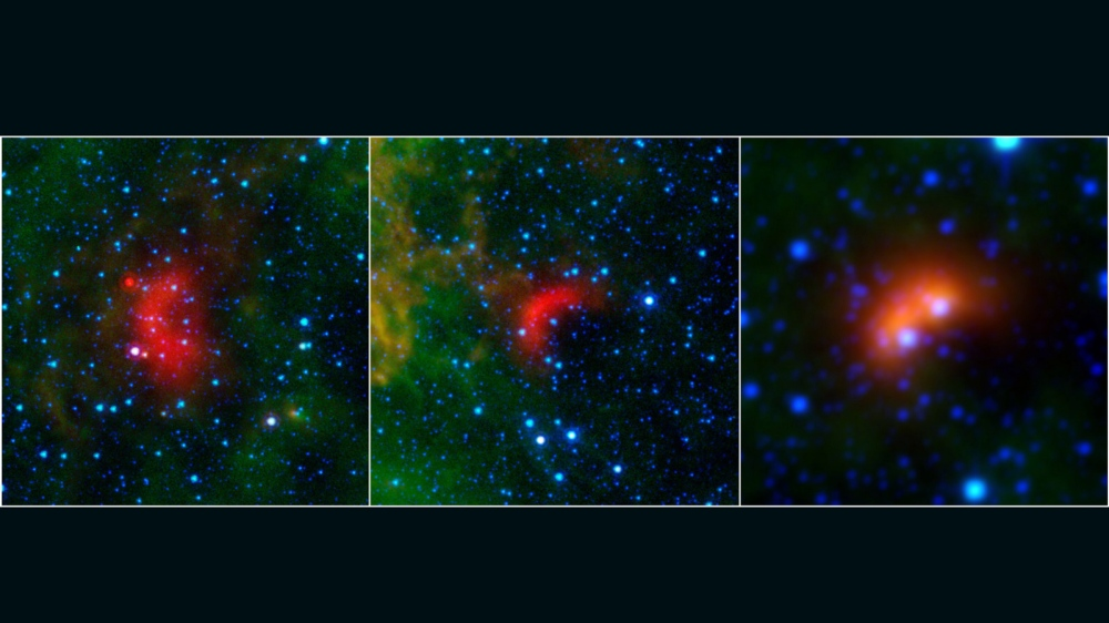 Bow shocks thought to mark the paths of massive, speeding stars are highlighted in these images from NASA's Spitzer Space Telescope and Wide-field Infrared Survey Explorer, or WISE. Image credit: NASA/JPL-Caltech/University of Wyoming
